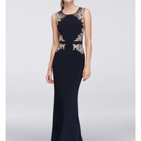 Embroidered Illusion Sheath Dress with Open Back - Davids Bridal