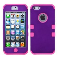 MYBAT IPHONE5HPCTUFFSO014NP Premium TUFF Case for iPhone 5 - 1 Pack - Retail Packaging - Grape/Electric Pink