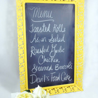 Vintage Ornate Framed Chalkboard, Upcycled Shabby Chic Home Decor, Bright Yellow, Chalk Board Metal Frame, Cute Message Board, Repurposed