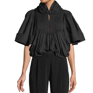 Co Collection Embroidered Voile Pleated Cropped Jacket