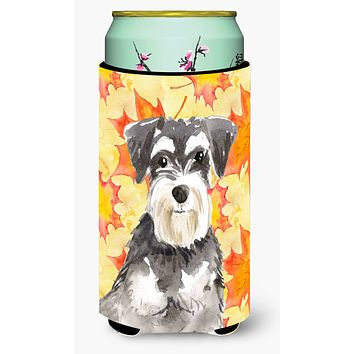 Fall Leaves Schnauzer #2 Tall Boy Beverage Insulator Hugger CK1833TBC