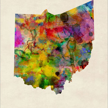 Ohio Watercolor Map USA, Art Print (366)
