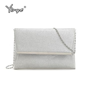 YBYT brand 2017 new fashion silver sequined chain envelope flap hotsale cell phone evening bags shoulder messenger crossbody bag