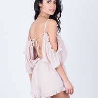 Ruffled Cold Shoulder Romper