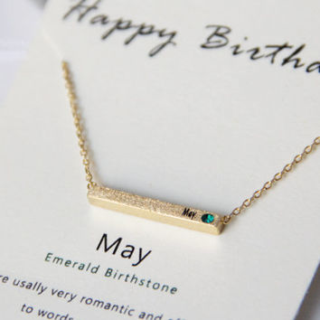 May birthday CZ gold/silver necklaces,bar long necklaces,initial birthday necklaces,cubic zirconia necklace,may emerald birthstone necklace
