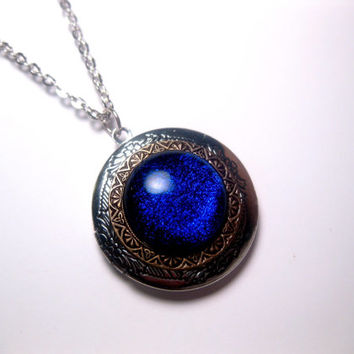 Blue Space Purple Galaxy Sparkly Glass Dichroic Locket Necklace
