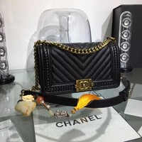CHANEL WOMEN'S HOT STYLE LEATHER HANDBAG INCLINED CHAIN SHOULDER BAG