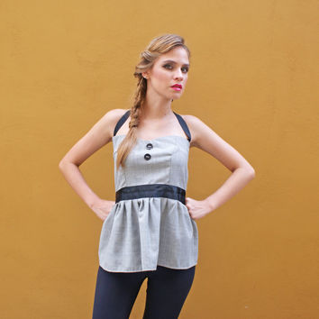 Strapless Peplum Top in 50 Shades of Grey FINAL SALE