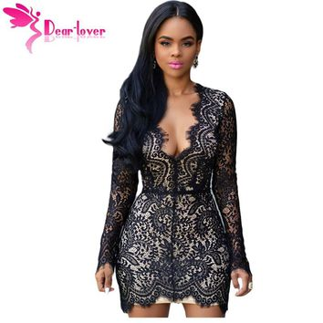 Dear Lover Women Autumn Black Lace Nude Open Back Mini Dress Long Sleeve Party Club Dress vetement femme robe hiver 2017 LC22535