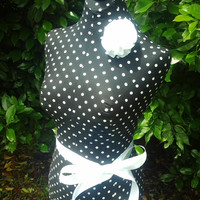 Black white Polka Dots Dress form jewelry mannequin also in Burlap Vintage Grey Shabby chic white, Sand linen craft show display your choice