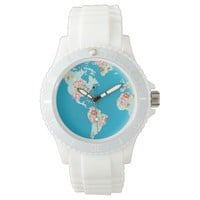 Floral world map with pretty vintage rose flowers watch