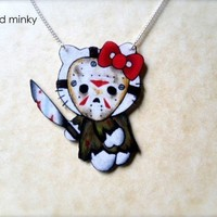 tattoo style necklace Jason Voorhees kitty  (EtsyCyberMonday)