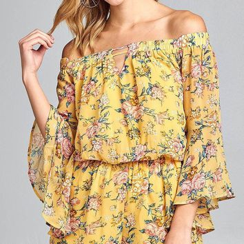 Ladies fashion front keyhole off the shoulder long ruffle bell sleeve floral print crepe chiffon romper