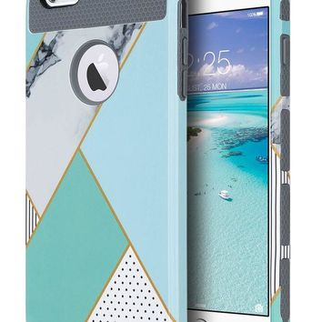 DCCKRQ5 iPhone 6s Case, iPhone 6 Case Mint Marble, ULAK Hybrid Slim Case With Hard PC and Inner TPU Cover for Apple iPhone 6S 4.7 Inch & iPhone 6 4.7 Inch Device (Mint Geometric Marble)