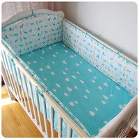 5 Pcs Baby Bed Sets Bumper Prevent Collision Farmhouse Cotton Cartoon Patterns Baby Bumper Bed Around Cot Sheets Baby Bedding