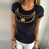 Necklace Beads Print T Shirt
