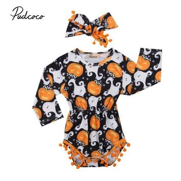 Pudcoco Newborn Baby Girls Romper Jumpsuit Long Sleeve Fall Winter Clothes 2017 Halloween Costume Cotton Pumpkin One-Piece