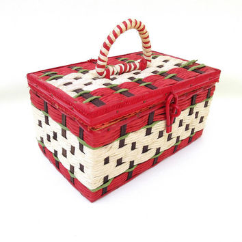 Vintage Wicker Sewing Basket / Sewing Box / Raffia Tote - Satin Pin Cushion / Red White Storage Box