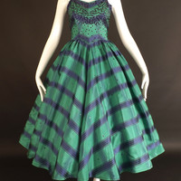 1950s Green & Blue Taffeta Party Dress, Bust-36