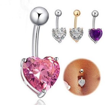 ac DCCKO2Q Fashion Love Heart belly button rings Bar Gold / Silver Plated Surgical Piercing Sexy Body Jewelry for women CZ navel piercing