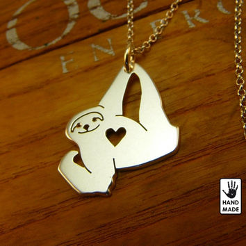 Very Confident SLOTH Handmade Sterling Silver .925 Necklace in a gift / present box