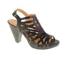 Wishing Well Laser Cut Platform Sandal by CL. Caged Slingback Heel in Black Vegan Leather. Size 7.5
