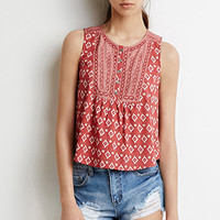 Embroidered Mixed Print Top