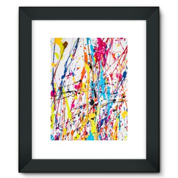 Rainbow Canvas Dripping with Wet Paint Framed Fine Art Print