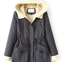 Navy Blue Stars Print Long Sleeve Hooded Coat with Pocket