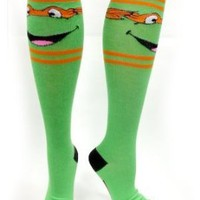 TMNT Teenage Mutant Ninja Turtles Green Knee-High Socks (Leonardo Blue)