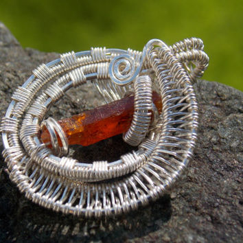 Heady Wire Wrapped Pendant with Orange Kyanite // Hippie Festival Jewelry