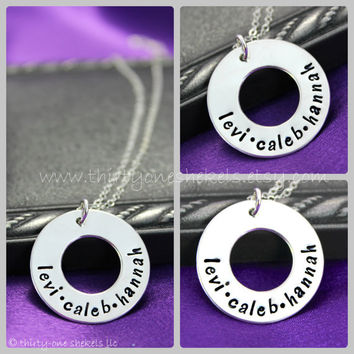 Hand-stamped Washer Mommy Necklace, Sterling Silver Mother's Necklace, Birthstone Mommy Necklace