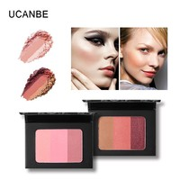 UCANBE 3 Color Cheek Blush Palette Blusher Pressed Powder Soft Natural Shadow Bronzer Shading Powder Mineral Contour Face Makeup
