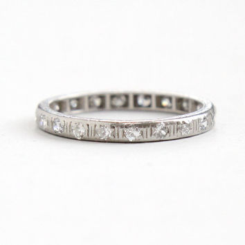 Antique Platinum Diamond Eternity Wedding Band Ring - 1/2 CTW Filigree Etched Size 7 Vintage Art Deco Fine Engagement Bridal Jewelry