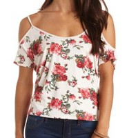 Cold Shoulder Cross Back Floral Swing Top - White Combo