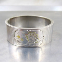Antique Sterling Silver Cuff Bracelet, Engraved Butterfly Forget Me Not, Victorian Rose Yellow Gold Aesthetic Hinged Bangle