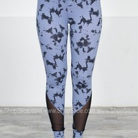 Athletic Sports Leggings | Grey Paint