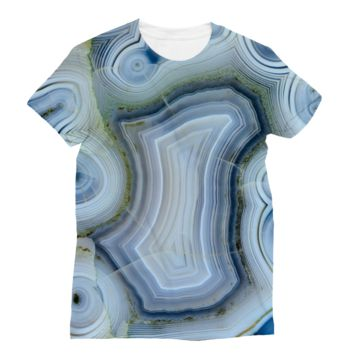 Blue and White Quartz Subli Sublimation T-Shirt
