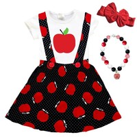 Black Red Apple Outfit Polka Dot Top And Jumper