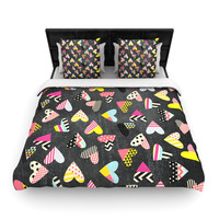 "Louise Machado ""Pieces of Heart"" Pink Yellow Woven Duvet Cover"