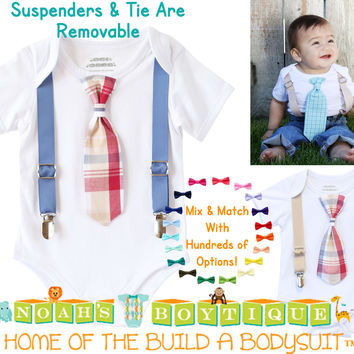 Baby Boy Outfits for Spring - Summer Baby Boy Clothes - Plaid - Preppy - Tie and Suspender Outfit - Blue - Burgundy - Tan - Cape Cod - Boat