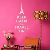 Keep Calm and Travel On Wall Quote Decal