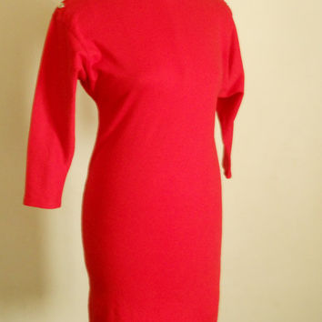 80s Bodycon Dress - Sexy 90s Red Party Mini Dress - Avant Garde - Long Dolman Sleeves Mid Knee Length by Lloyd Allen Size 11