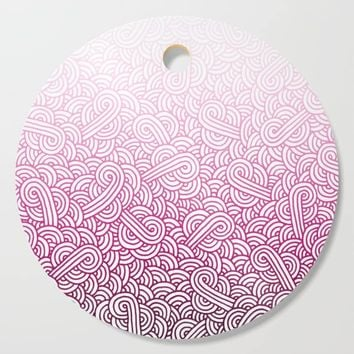 Gradient pink and white swirls doodles Cutting Board by savousepate
