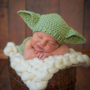 Star Wars Yoda Costume Outfit Crochet Baby Newborn Yoda Photography Props Cartoon Infant Hat with Diaper Cover H264