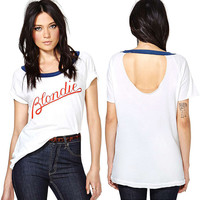 White Blondie Print Cutout Back Loose Tee