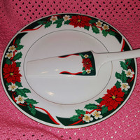 "Tienshan Fine China ""Deck The Halls"" PatternChristmas Holiday Cake / Pie Plate Platter and Server"