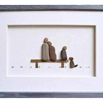 Pebble art family of 3 and dog, Christmas family gift idea, Framed family wall art, Anniversary or new home gift, Family home decor, 3D art