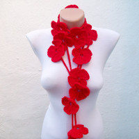 Hand crochet Lariat Scarf  Red  Flower Lariat Scarf  Long Necklace Holiday Accessories