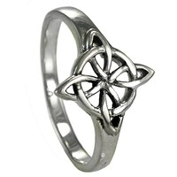 Sterling Silver Celtic Quaternary Wiccan Witches Knot Ring (Sizes 4-15)